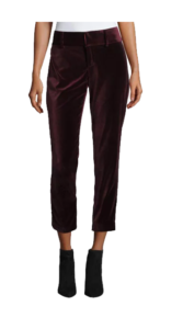 Alice + Olivia Stacey Slim High-Rise Velvet Ankle Pants, $285